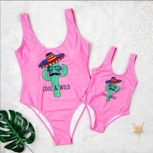 NWT Hot Pink Graphic One Piece Swimsuit